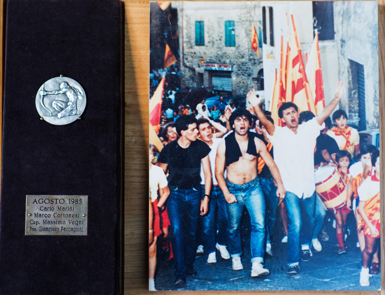 VII - Agosto 1985, Arcieri: Carlo Marini e Marco Cortonesi, Capitano degli Arcieri: Massimo Vegni, Presidente: Giampiero Paccagnini