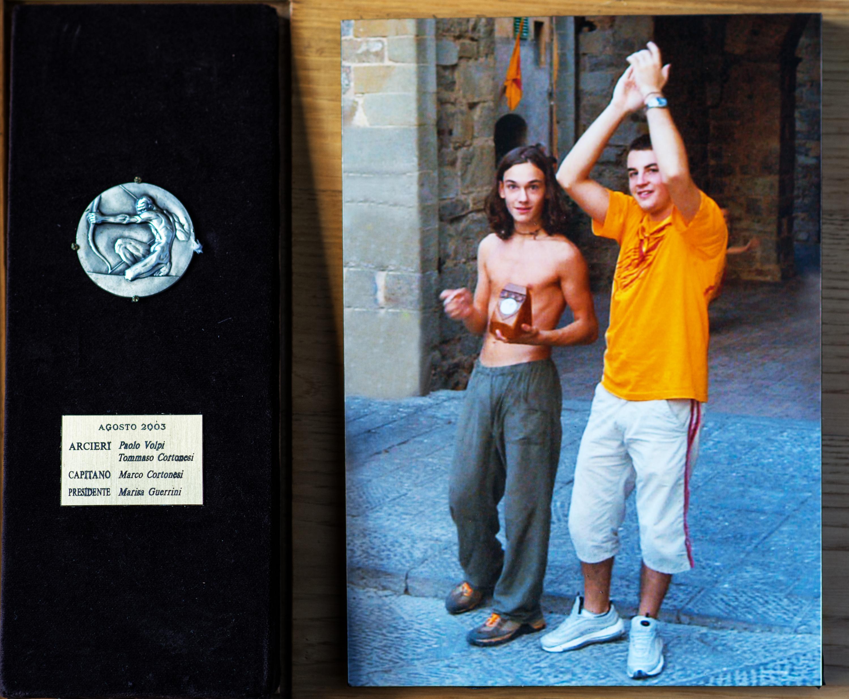 XV - Agosto 2003, Arcieri: Tommaso Cortonesi e Paolo Volpi, Capitano degli Arcieri: Marco Cortonesi, Presidente: Marisa Guerrini