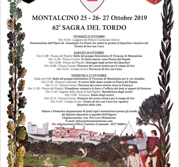 62^ SAGRA DEL TORDO 25-26-27 Ottobre 2019 programma